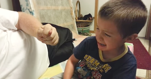 Dad Makes His Son Cry Instantly By Stealing His Ear And Nose